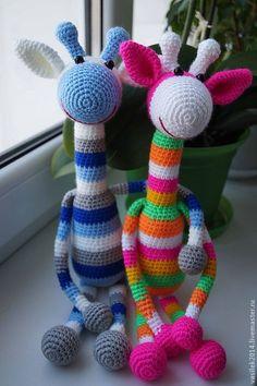 Купить Радужный Жираф - вязаная игрушка, жираф, ручная работа, игрушка крючком, подарок девушке