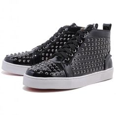 Christian Louboutin Louis Hi Top Studded Sneakers Black Red Bottom Shoes High Top Sneakers, Ankle Sneakers, Studded Sneakers, Sneakers For Sale, High Heels, Black Sneakers, Black Christian Louboutin, Discount Sneakers, Red Bottom Shoes