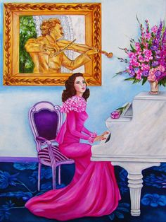 Music Art Print Musical Instruments Woman by kMadisonMooreFineArt