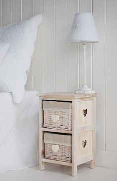 Slim Bedside Table With Cut Out Hearts On The Small A For Narrow Es In Bedroom From White Lighthouse