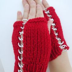 Fingerless Gloves in red with silver-colored chain  by mymomsshop1