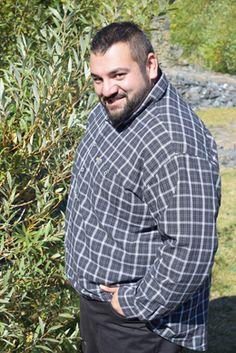 Kamro Hemd 23378-257 Langarm schwarz-grau-weiß 4-14XL