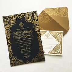 Lots of gorgeous foil stamped roses and geometry on this gorgeous invitation #custominvitations #foil #gold #design #graphicdesign #graphic #blackandgold #roses #weddinginvitations #wedding #weddinginspiration #invitation #luxury
