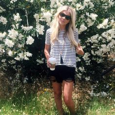 Melissa Cole | EllaBrooks Blog neutrals black white stripes boho fashion distressed denim