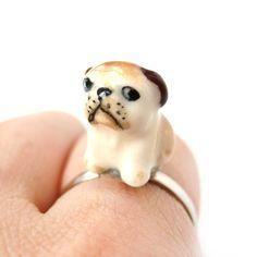 Porcelain Ceramic Grumpy Bulldog Puppy Dog Animal Adjustable Ring   Handmade