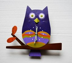OFFER Metal wall clock handmade, Owl , Recycled material, - LIMITED EDITION #Oxido #Contemporary