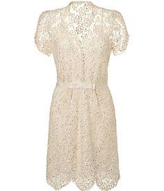 JENNY PACKHAM  Ivory Sequined Lace Dress