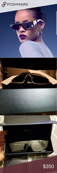 New Christian Dior sunglasses (Rihanna 3ygot) Authentic Christian Dior sunglasses by Rihanna. Shiny silver frames. Complete case. I got them at Rihanna's Diamond Ball. I don't remember ever seeing a tag. I only took them out of the box twice. Christian Dior Accessories Sunglasses