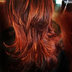 red hair color| highlights|hair style| | The Colorist  Good hair color idea for my sister.