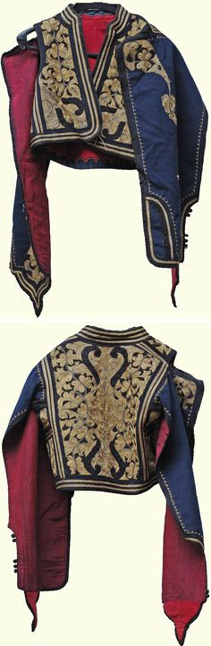 Late-Ottoman 'kartal kollu cepken' (jacket with eagle sleeves; also called: 'yaprak kollu' = leaf sleeves), for men. 'Goldwork' (metallic thread) and black silk embroidery on combing wool.  Ca. 1900; bought in Istanbul, but the place of origin is uncertain.  (Kavak Folklor Ekibi & Costume Collection-Antwerpen/Belgium).  (SOLD to the 'Etnografisch Museum, Antwerpen', as part of a full costume).