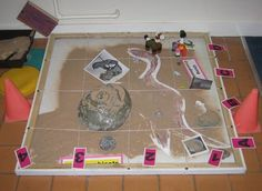 A great idea for a fossil dig site in a classroom.
