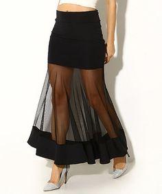 Love this Black Sheer Panel Maxi Skirt on #zulily! #zulilyfinds