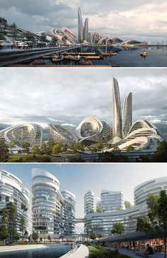 futuristisch smartcity zukunft stadt You are in the right place about Eco city concept ideas Here we offer you the most beaut Unique Architecture, City Architecture, Futuristic Architecture, Concept Architecture, Masterplan Architecture, Arquitetos Zaha Hadid, Zaha Hadid Architects, Futuristic City, Futuristic Design