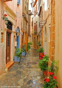 In the colorful alleys of Chania, Crete, Greece