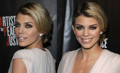 2014 Prom Updos from Celebrity Hair styles Inspirations Anna Lynne McCord Parted bun retro waves