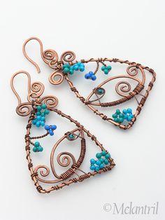 Copper wire wrapped jewelry earrings Bird´s sonata by Melantril, via Flickr