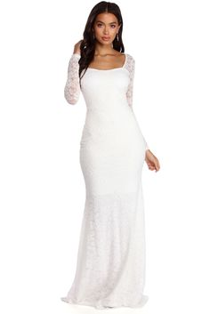 Windsor Delilah Illusion Lace Formal Dress in White White Lace, White Dress, White Long Sleeve Dress, Everyday Dresses, Buy Dress, Special Occasion Dresses, Windsor, Bridal Dresses, Bridesmaid Dresses