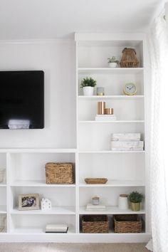 Complete a wall of built-ins on a budget by turning a set of IKEA Billy bookcases into a DIY set of built -ins. This is an IKEA hack you will want to see. Billy Regal Hack, Ikea Billy Hack, Ikea Billy Bookcase Hack, Built In Bookcase, Billy Bookcases, Shelves Built Into Wall, Ikea Living Room, Ikea Bedroom, Lego Bedroom
