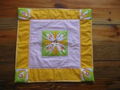 RachaelsCrazyScraps FREE SHIPPING USA Large table topper In pink,orange,green, and flower print. LOVE THE PATTERN ON THIS ONE.