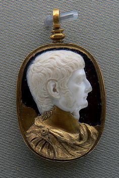 Cameo of Germanicus (Germanicus Julius Caesar) (15 B.C. - A.D. 19). Dated to ca. A.D. 4-14 by the Boston Museum of Fine Arts (MFA): inv. 98.753. Sardonyx cameo; restorations in gold not original.