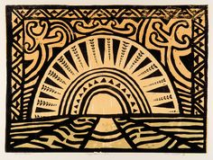 Nigel Brown Pacific Solar Colour woodcut 700 x Elements: line, color, shape, space Principles: symmetrical balance, pattern and repetition
