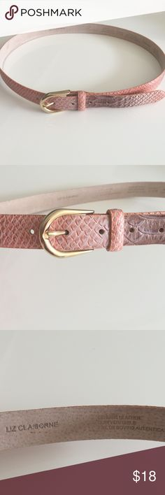 """Liz Claiborne snakeskin belt Beautiful Liz Claiborne salmon, brown and taupe leather snakeskin belt.  Excellent condition except for some scuffs on inside of belt which you can't see.  Gold hardware.  Size Medium - Total length is 38""""L Liz Claiborne Accessories Belts"""