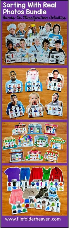 This Sorting With Real Photos Bundle, includes nine complete Sorting With Real Photos sets:  Sets included are:  Identifying Emotions Sorting Mats Community Helpers Sorting Mats My Community Sorting Mats Five Senses Sorting Mats Food Groups Sorting Mats Sorting Common Objects and Categories Sorting Mats Clothing Sorting Mats Nouns, Verbs and Adjectives Sorting Mats Pronouns Sorting Mats