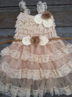 Rustic Flower Girl Dress Lace by TheDaintyDaisyNJ on Etsy, $48.50