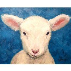 Sheep Art  Print of Original Acrylic Painting,  Lamb  on Blue, Dottie Dracos