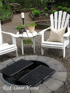 Fire pit - build your own. The ring with the grates is cool. Might have to consider it.
