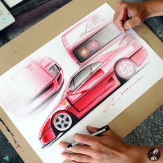 Ferrari F40 compilation sketch, colored pencil & gouache. Original drawing available at: http://www.PinstripeChris.com/Store