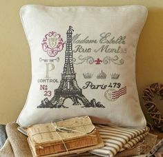 French postcard cross stitch kit by Anette Eriksson