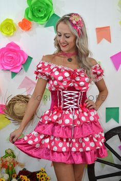 Vestido Poá Rosa Pink - Caipira Chic - comprar online