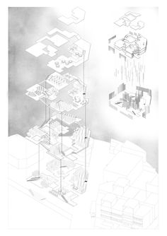 Bamboo Library / Exploded Axonometric / Wendy Guan Biomimicry Architecture, Grid Architecture, Site Analysis Architecture, Hospital Architecture, Architecture Graphics, Architecture Drawings, Masterplan Architecture, Architecture Collage, Architecture Student