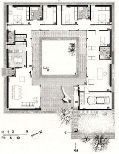 For Oahu architectural design visit ownerbui House Layout Plans, New House Plans, Modern House Plans, Small House Plans, House Layouts, Modern House Design, House Floor Plans, U Shaped Houses, Hacienda Style Homes