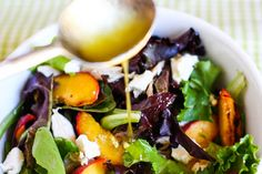 Grilled Peach, Chicken, and Goat Cheese Salad with Honey White Balsamic Dressing from Eat, Live, Run