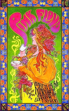 3/15/ 1966 ..... Psychedelic Vintage concert poster .... Pink Floyd ...      artist .... BOB MASSE