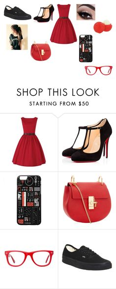 """Red"" by abygail428 ❤ liked on Polyvore featuring Christian Louboutin, Eos, Muse and Vans"