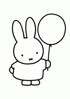 We all love this Nijntje/Miffy character from Dick Bruna. I especially remember the nice stories and the fun things Nijntje/Mi. Bunny Coloring Pages, Cartoon Coloring Pages, Printable Coloring Pages, Coloring Pages For Kids, Miffy Cake, Rabbit Drawing, Doodles, Balloon Animals, Pooh Bear