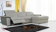 AURA LIGHT GREY POWER RECLINING MEDIUM SECTIONAL SOFA WITH RIGHT FACING CHAISE