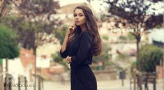 Stock photo - young beautiful stylish girl in black summer dress walking and posing between trees at alley Best Online Dress Stores, Dresses Online, Black Women Fashion, New Fashion, Fashion Beauty, Womens Fashion, Fashion Shoes, Style Hip Hop, Short Dresses