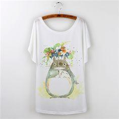 Japonais Anime Totoro T shirt Femmes Imprime 2016 Mode À Manches Courtes T…