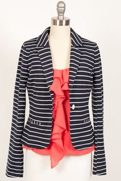 Knit Stripe Blazer in Navy