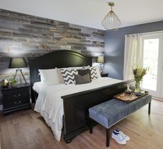 Feature reclaimed wood wall from The Eco Floor Store