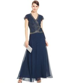 J Kara Flutter-Sleeve Embellished Side-Tie Gown | macys.com