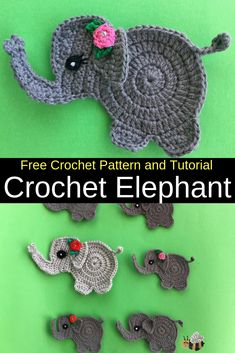 Get this free crochet pattern of a crochet elephant. This and many other crochet animals are available on my website, Kerri's Crochet. Get this free crochet pattern of a crochet elephant. This and many other crochet animals are available on my Marque-pages Au Crochet, Crochet Mignon, Crochet Motifs, Cute Crochet, Crochet Baby, Crochet Woman, Crochet Bikini, Crochet Applique Patterns Free, Crochet Animal Patterns