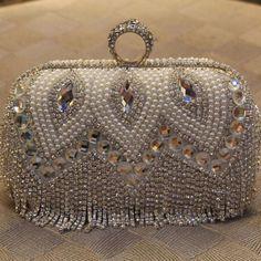 2016 womens clutch diamond tassel ring evening bags pearl hard bling day clutches bridal mini party handbag silver bags 814t