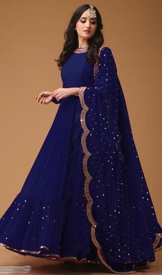 Desirable Blue Colored Georgette Fabric Party Wear Mirror Work Anarkali Suit With Dupatta - Indian Designer Outfits, Indian Outfits, Designer Dresses, Designer Wear, Designer Anarkali Dresses, Indian Clothes, Anarkali Gown, Anarkali Suits, Indian Anarkali
