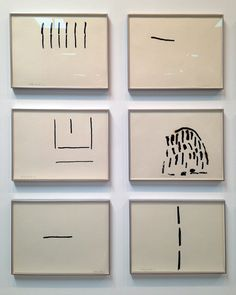 Philip Guston, detail of installation view, untitled drawings (1967-1969), ink and charcoal on paper
