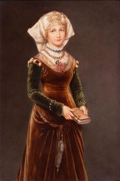 """A framed KPM porcelain plaque ~ Afyer Von Menzel """"Renaissance Girl"""""""
